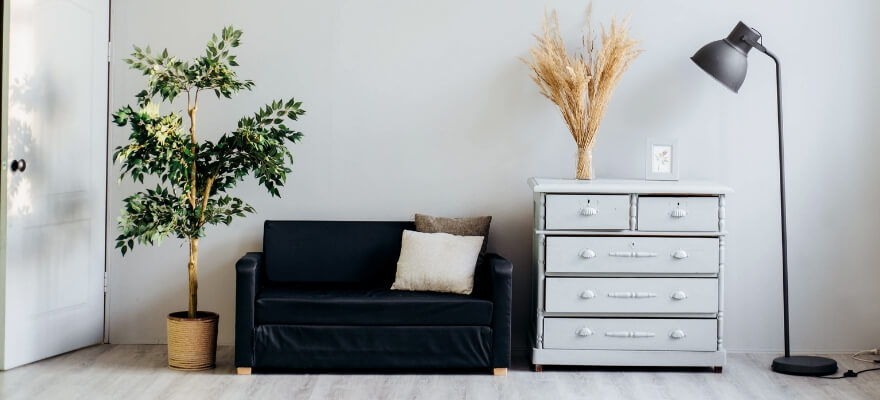 Chest of draws, couch, lamp and plant