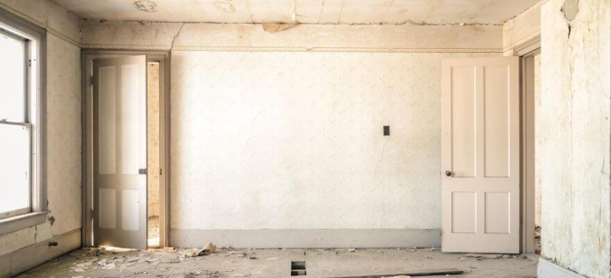 Partly demolished room