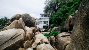 House above rocks